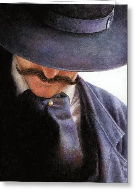 Cowboy Hat Greeting Cards - Handlebar Greeting Card by Pat Erickson