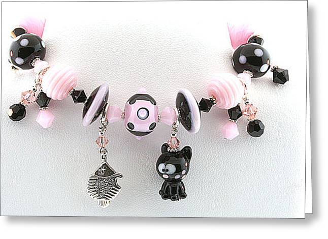 Kitty Jewelry Greeting Cards - Handmade Glass Lampwork Black and Pink Cat Bracelet Greeting Card by  Chelsea  Pavloff