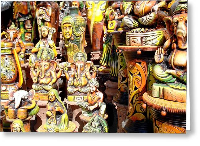 Indian Vase Greeting Cards - Handmade Vases And Sculptures Greeting Card by Sumit Mehndiratta