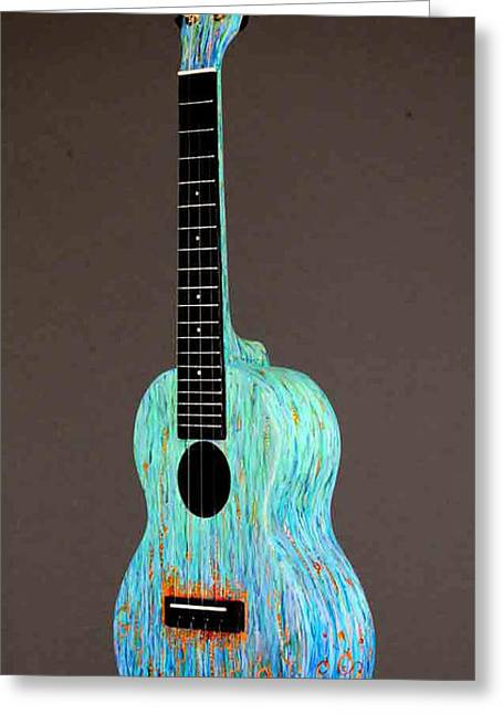 Decorate Sculptures Greeting Cards - Handpainted Pono Concert Ukulele Greeting Card by Jean Groberg