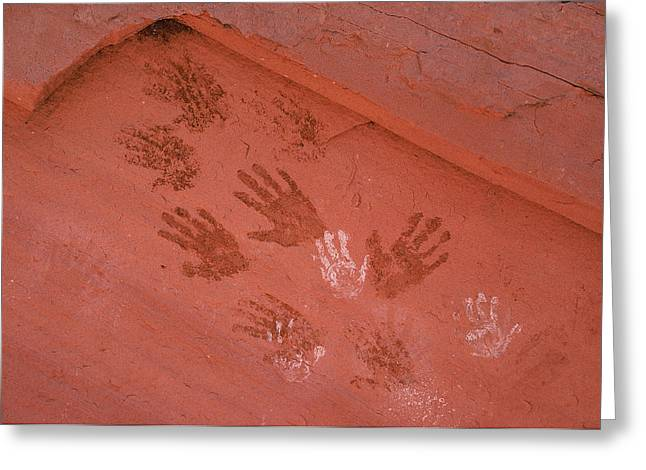 Pre Columbian Architecture And Art Greeting Cards - Handprints Painted On A Rock Wall Greeting Card by Ira Block