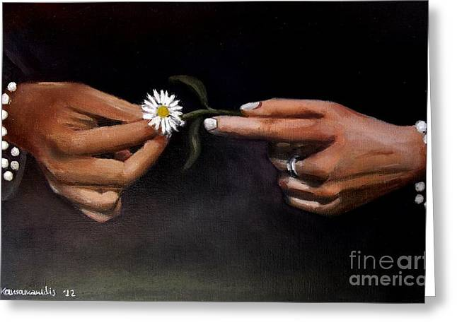 Hands And Daisy Greeting Card by Kostas Koutsoukanidis
