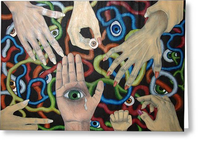 Collages Drawings Greeting Cards - Hands and Eyes Greeting Card by Nancy Mueller