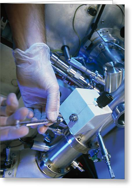 Spectrometer Greeting Cards - Hands Injecting A Sample Into A Mass Spectrometer Greeting Card by Tek Image