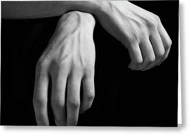 Isolated On Black Background Greeting Cards - Hands study Greeting Card by Gabriela Insuratelu