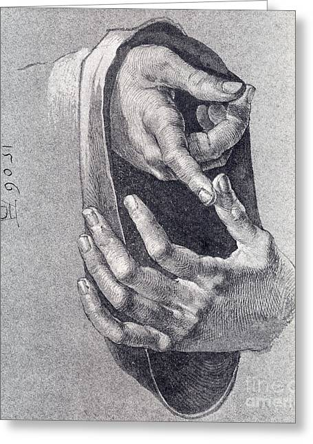 1506 Greeting Cards - Hands  Study Greeting Card by Pg Reproductions