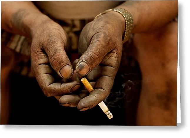 Rosen Greeting Cards - Hands that Smoke Greeting Card by Valerie Rosen
