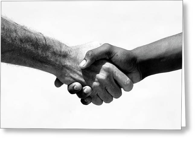 Best Sellers -  - Cooperation Greeting Cards - Handshake Greeting Card by Michael Ledray