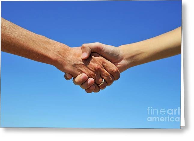 Satisfaction Greeting Cards - Handshake on blue sky Greeting Card by Sami Sarkis