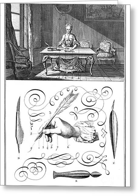 French Handwriting Greeting Cards - HANDWRITING, 18th CENTURY Greeting Card by Granger