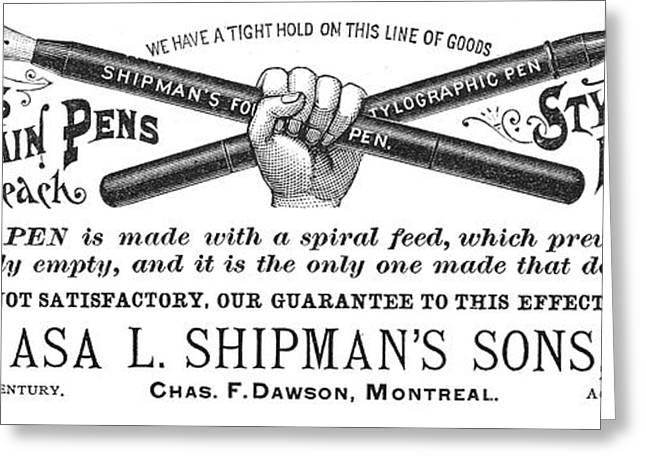 Pen Greeting Cards - Handwriting: Pens, 1890 Greeting Card by Granger