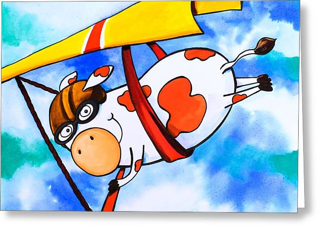 Juvenile Wall Decor Paintings Greeting Cards - Hang Glider Cow Greeting Card by Scott Nelson