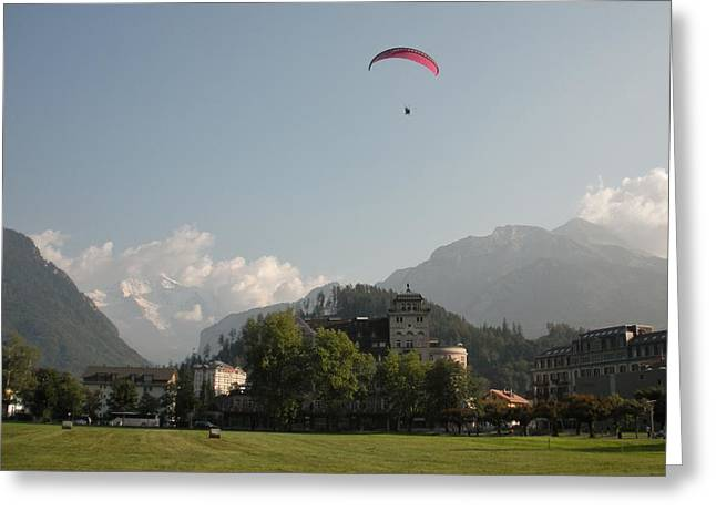 Hang gliding in Interlaken Switzerland  Greeting Card by Marilyn Dunlap