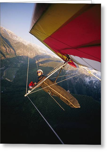 Model Colorado Greeting Cards - Hang Gliding With Wing-mounted Camera Greeting Card by Skip Brown