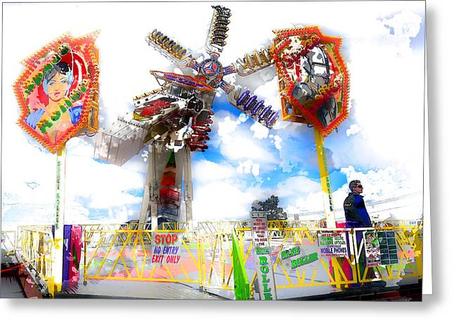 Carnie Greeting Cards - Hang On Greeting Card by Carl Rolfe