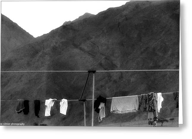 Isaac Silman Greeting Cards - Hanged Laundry Greeting Card by Isaac Silman