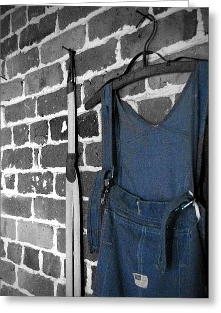 Suspenders Greeting Cards - Hangin Around Greeting Card by Jessica Brawley