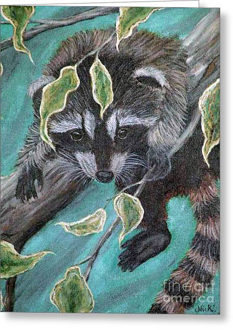 Raccoon Paintings Greeting Cards - Hanging around Greeting Card by Nick Gustafson