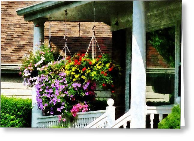 Geraniums Greeting Cards - Hanging Baskets Greeting Card by Susan Savad