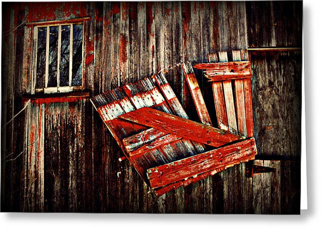Barn Digital Art Greeting Cards - HAnging by a few nailsS Greeting Card by Julie Hamilton