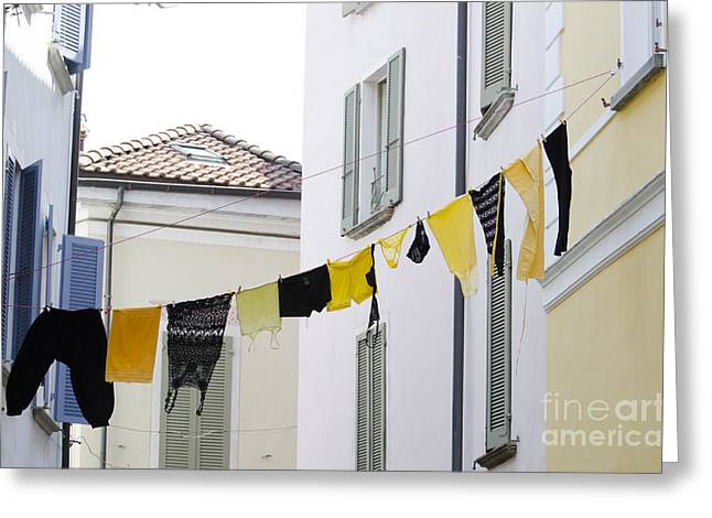 Yellow Sweater Greeting Cards - Hanging clothes Greeting Card by Mats Silvan