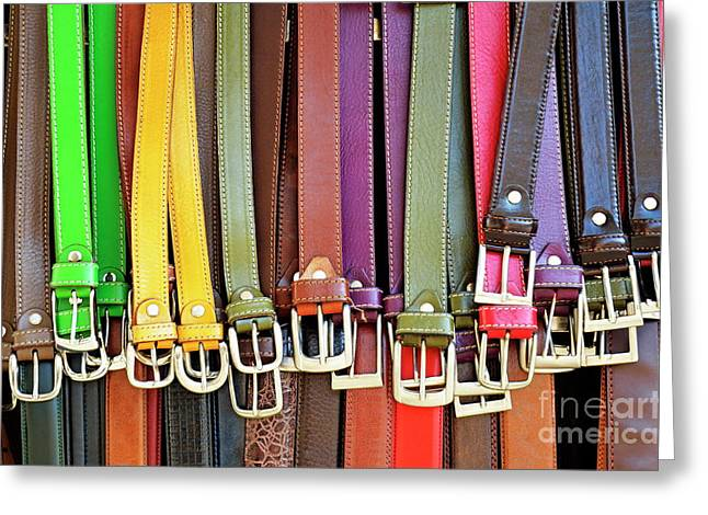 Leather Belt Greeting Cards - Hanging colorful leather belts at shop Greeting Card by Sami Sarkis