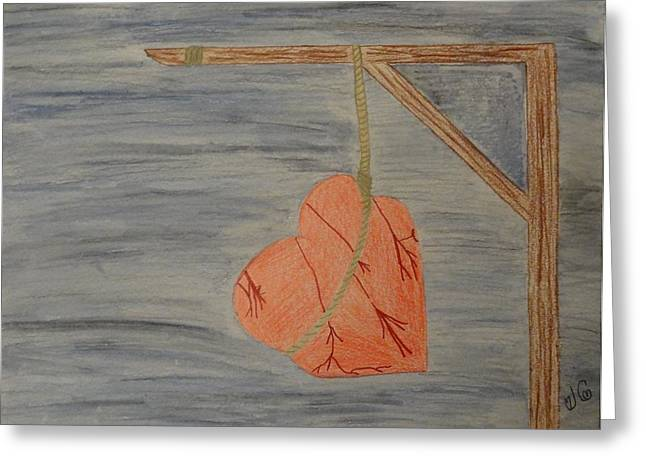 Broken Heart Drawings Greeting Cards - Hanging Heart Greeting Card by Jessica Cruz