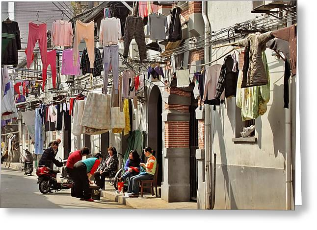 Laundry Greeting Cards - Hanging out in the streets of Shanghai Greeting Card by Christine Till