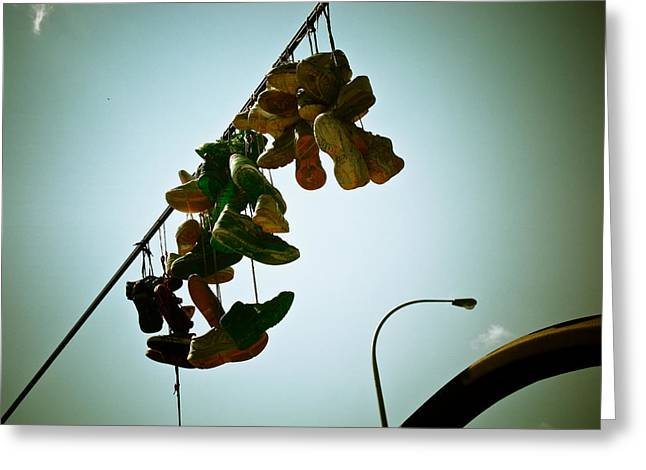 Hanging out on a Wire Greeting Card by Michael Knight