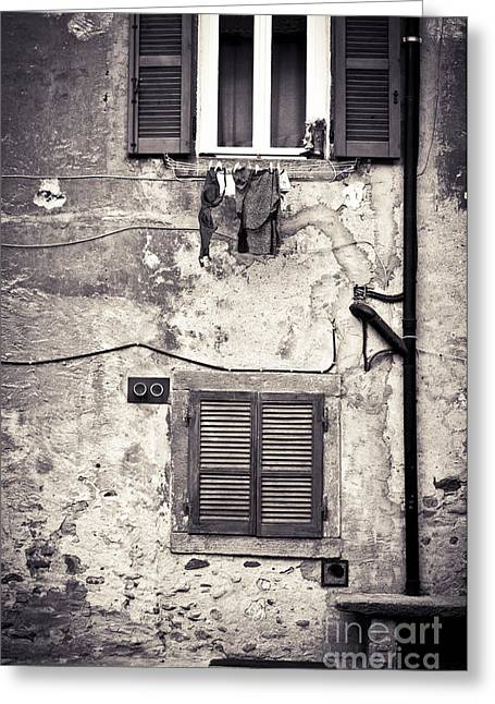 Hanging Out To Dry Greeting Card by Silvia Ganora