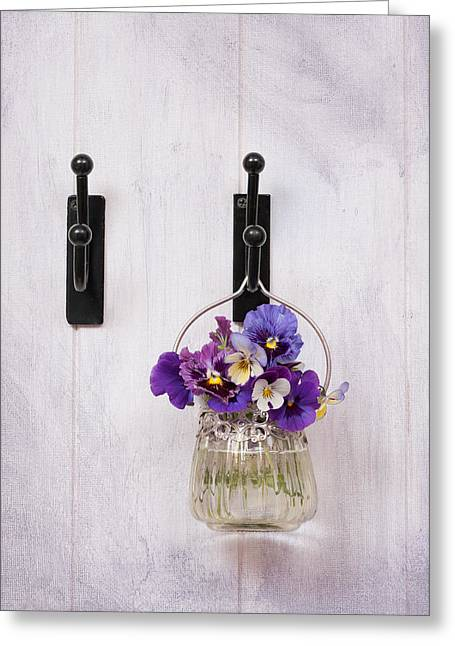 Glass Vase Greeting Cards - Hanging Pansies Greeting Card by Amanda And Christopher Elwell