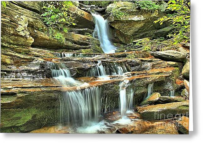 Ledge Photographs Greeting Cards - Hanging Rock Cascades Greeting Card by Adam Jewell