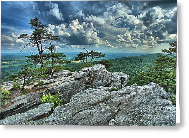 Ledge Greeting Cards - Hanging Rock Overlook Greeting Card by Adam Jewell