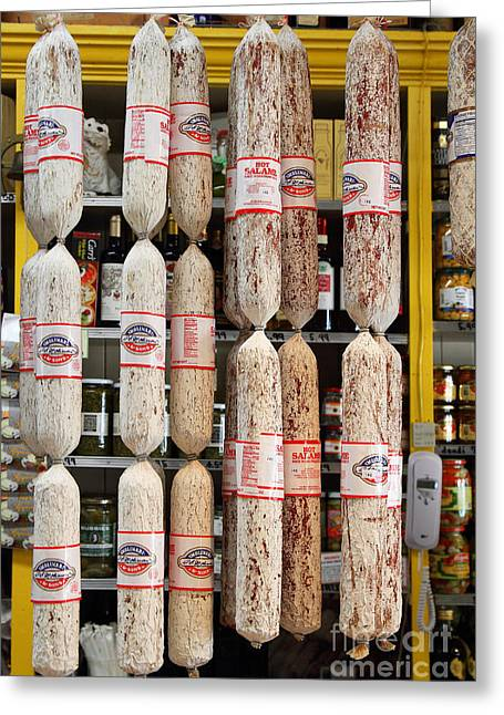 Italian Wine Greeting Cards - Hanging Salami Greeting Card by Wingsdomain Art and Photography