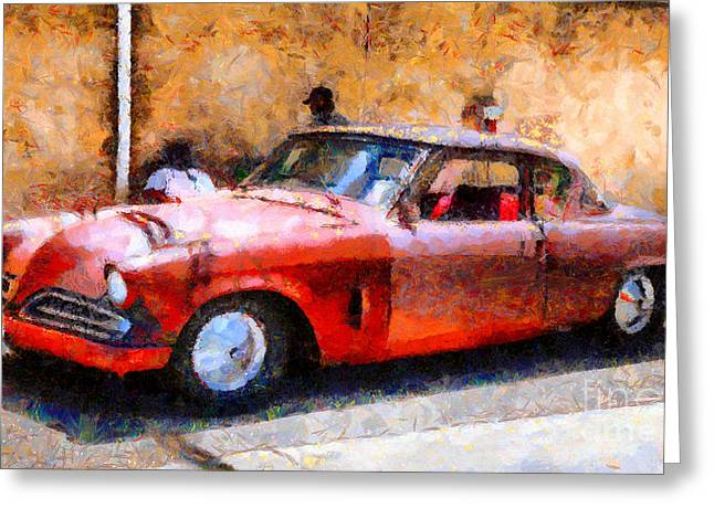 Made In The Usa Digital Greeting Cards - Hanging With My Buddy . 1953 Studebaker . Painterly . 5D16513 Greeting Card by Wingsdomain Art and Photography