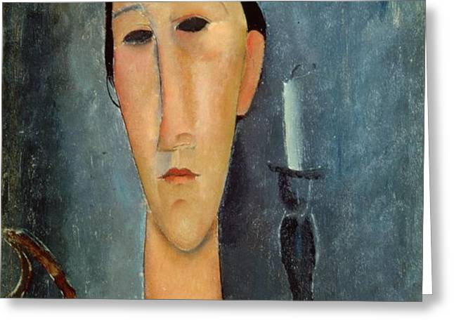 Hanka Zborowska with a Candlestick Greeting Card by Amedeo Modigliani