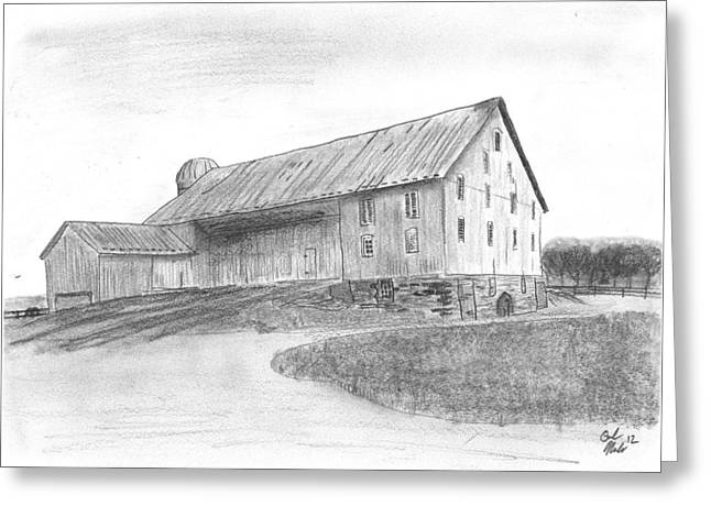 Pa Drawings Greeting Cards - Hanover Barn 1 Greeting Card by Carl Muller