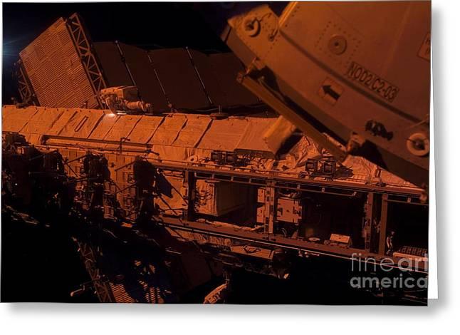 Esa Greeting Cards - Hans Schlegel Performing Spacewalk Greeting Card by Nasa