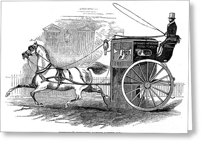 Hansom Greeting Cards - Hansom Cab, 1846 Greeting Card by Granger