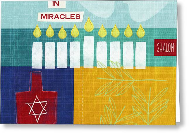 Red Leaves Mixed Media Greeting Cards - Hanukkah Miracles Greeting Card by Linda Woods