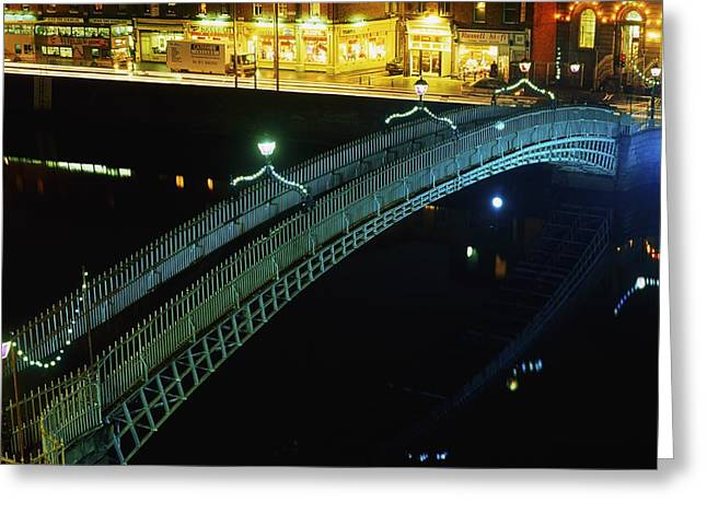 Enterprise Photographs Greeting Cards - Hapenny Bridge, Dublin City, Co Dublin Greeting Card by The Irish Image Collection
