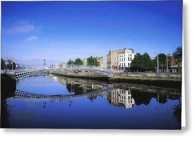 Localities Greeting Cards - Hapenny Bridge, River Liffey, Dublin Greeting Card by The Irish Image Collection