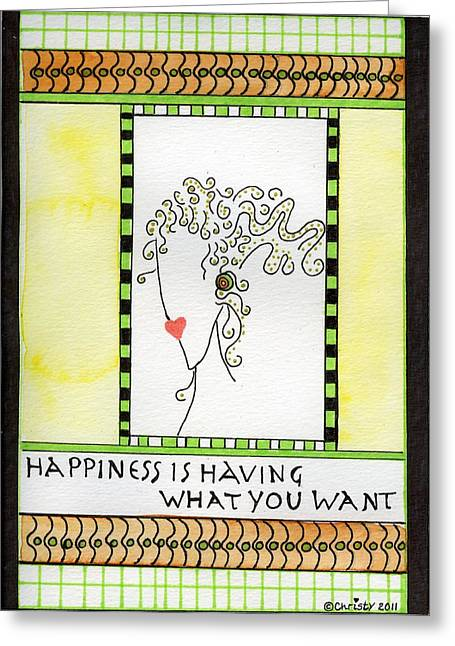 Happiness Greeting Card by Christy Woodland