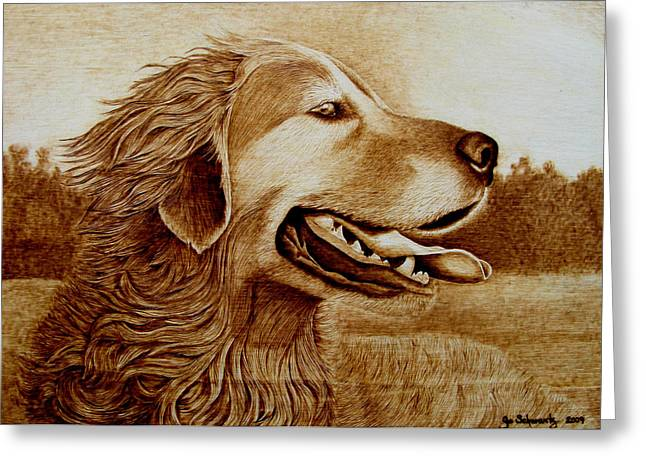Dogs Pyrography Greeting Cards - Happiness Greeting Card by Jo Schwartz