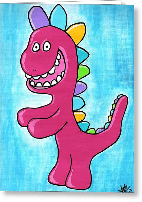 Outsider Drawings Greeting Cards - Happosaur Greeting Card by Jera Sky