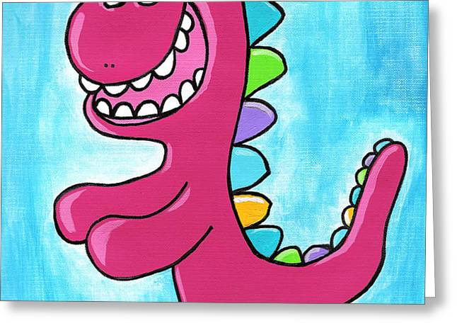 Happosaur Greeting Card by Jera Sky