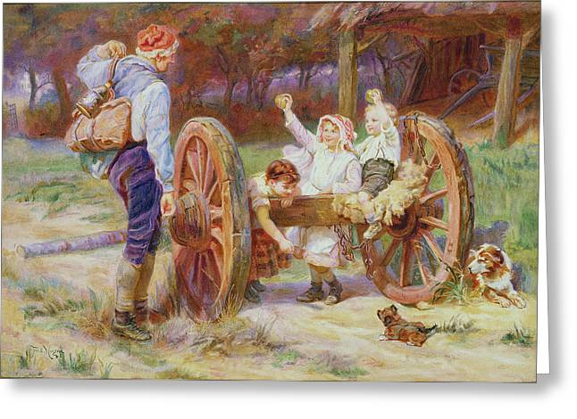 Quaint Greeting Cards - Happy as the Days are Long Greeting Card by Frederick Morgan