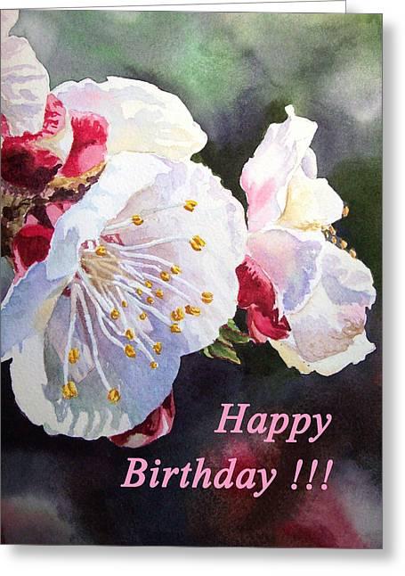 Happy Birthday Card Apricot Flowers Greeting Card by Irina Sztukowski