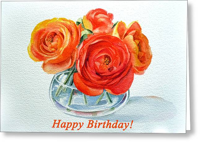 Ranunculus Greeting Cards - Happy Birthday Card Flowers Greeting Card by Irina Sztukowski