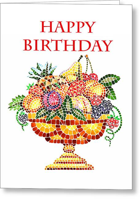 Mosaic Paintings Greeting Cards - Happy Birthday Card Fruit Vase Mosaic Greeting Card by Irina Sztukowski